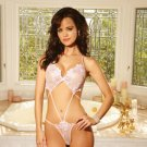 embroidered strappy halter style teddy with straps and thong back