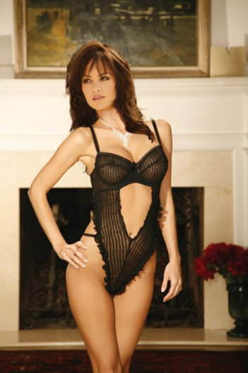 ruffled teddy with open v front and underwire cups