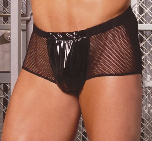 Fishnet shorts with vinyl front (mens)