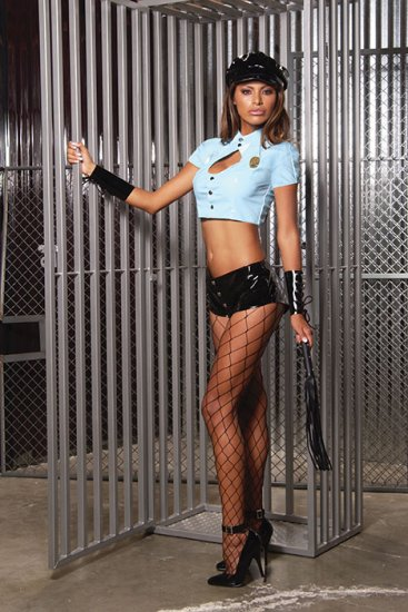 3 pc vinyl cop costume incl. snap front hot pants, short sleeve top and badge