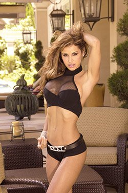 Fishnet and lycra halter top with underwire cups and adj. back