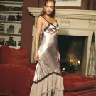 Charmeuse gown with lace trim and double adj. straps