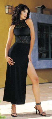 slinky high neck long dress