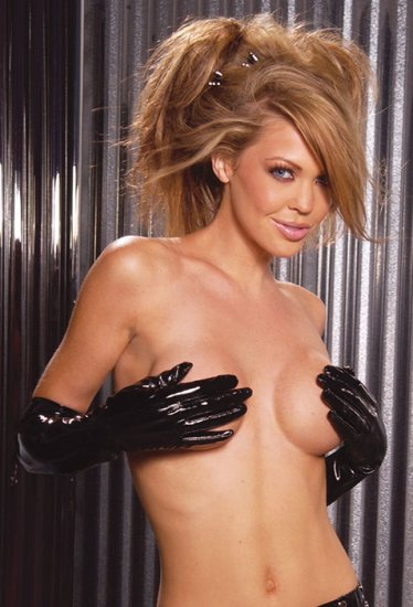 Long vinyl gloves