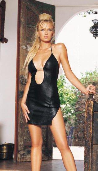 Wet look slinky mini dress