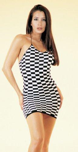 checker board halter mini dress