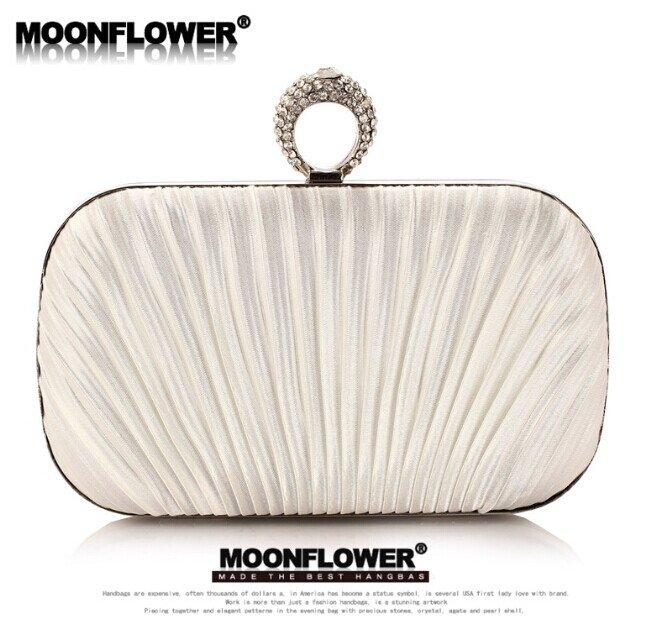 Designer White Satin Ruffles Rhinestones Bling Evening Bags For Women Online