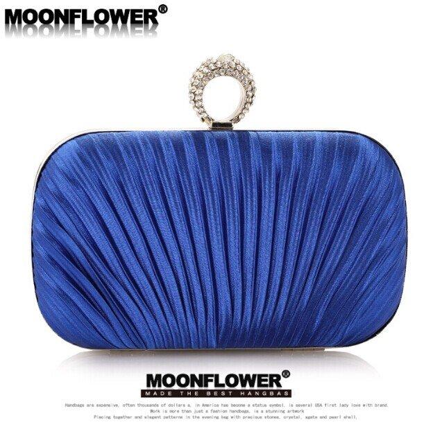 Designer Formal Satin Ruffles Rhinestones Bling Evening Bags For Women Online