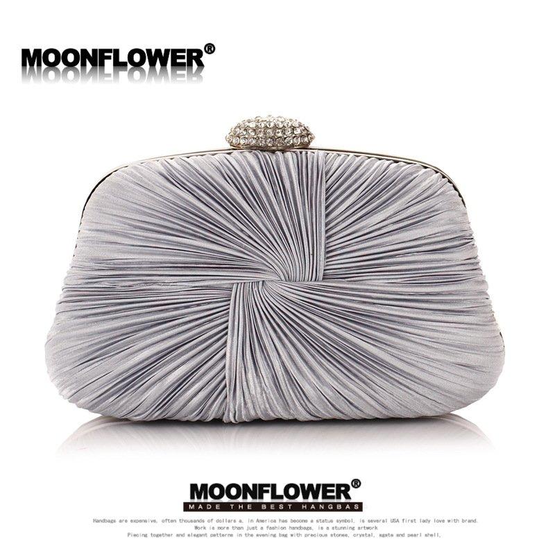 Designer Satin Ruffles Crystal Bling Wedding Stuff Evening Bags For Bridesmaids