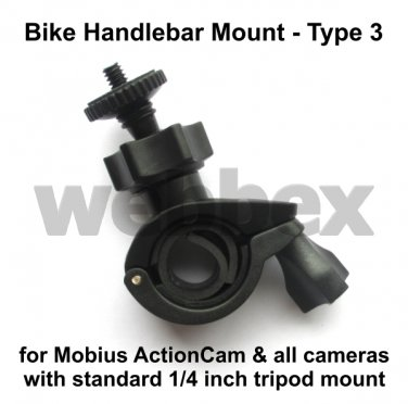 TYPE 3 HANDLEBAR MOUNT FOR ALL CAMERAS WITH STANDARD 1/4 INCH TRIPOD THREAD