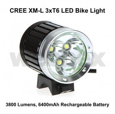 CREE XML 3xT6 LED 3800 LUMEN RECHARGEABLE BIKE LIGHT