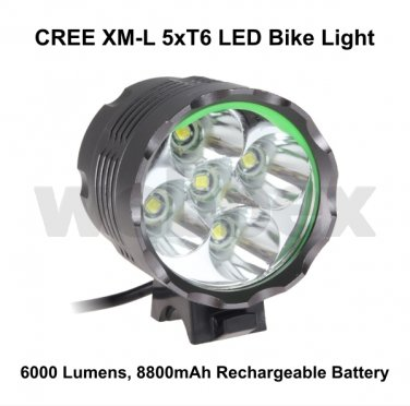 CREE XML 5xT6 LED 6000 LUMEN RECHARGEABLE BIKE LIGHT