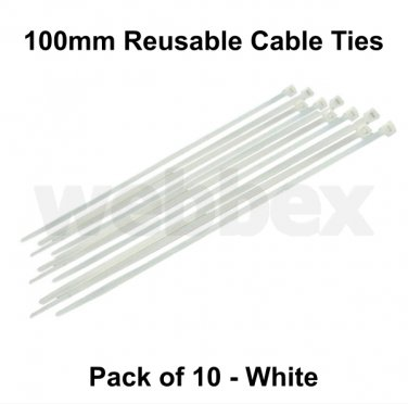 PACK OF 10 x 100mm REUSABLE CABLE TIES - WHITE