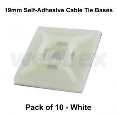 PACK OF 10 SELF-ADHESIVE CABLE TIE BASES - WHITE