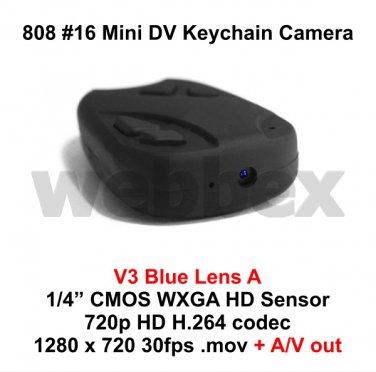 MINI DVR 808 #16 V3 LENS A KEY CHAIN MICRO HD CAMERA 720P H.264 WITH A/V OUT
