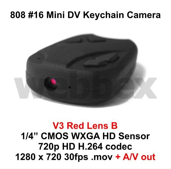 MINI DVR 808 #16 V3 LENS B KEY CHAIN MICRO HD CAMERA 720P H.264 WITH A/V OUT