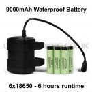9000mAh 6 HOUR 6x18650 WATERPROOF BATTERY PACK