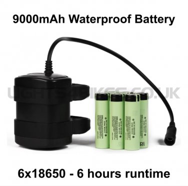 9000mAh 6 HOUR 6x18650 WATERPROOF BATTERY PACK
