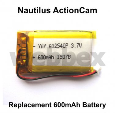REPLACEMENT 600mAh BATTERY FOR THE NAUTILUS ACTION CAMERA