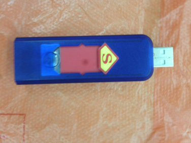 Free shipping!! Blue transparent---Electronic USB Cigarette Lighter, Rechargeable, Flameless