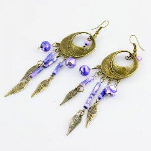 Boximiya style leaves shape earrings purple