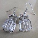 Fashion Crystal Bowknot Tie Gift Box Silver Dangle Earrings Stud Jewellry Women