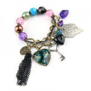 Bohemia Style Lovely heart Peacock leaf key Bracelet