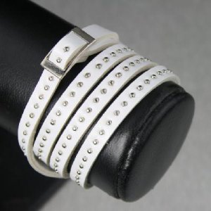 Fashion Leather Belt Bracelet W/ Rivets for ladies White
