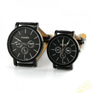 2PCS Matching his & hers watches Quatrz new style /A pair leather watch black