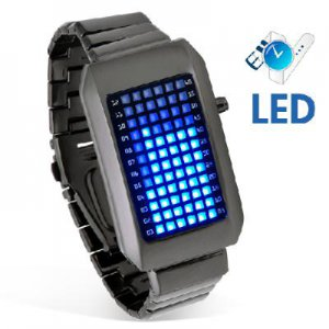 72-LED Blue Light Matrix Stainless Steel Watch/Wristwatch (Black)