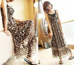 Elegant Lady Woman�s Leopard Girdling Chiffon Spaghetti Strap Longuette Dress