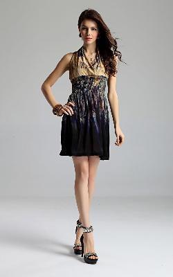 New Lady Women's Summer Wear Sleeveless V-Open Nipped-Waist Dress