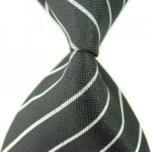 Black White Stripe Silk Classic Woven Man Tie Necktie