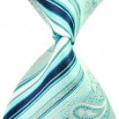 Blue Arabesquitic Stripe Silk Classic Woven Man Tie Necktie