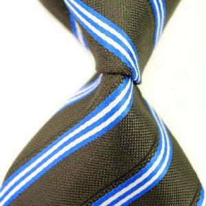 Brown Stripe Silk Classic Woven Man Tie Necktie