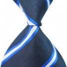 Dark Blue Stripe Silk Classic Woven Man Tie Necktie