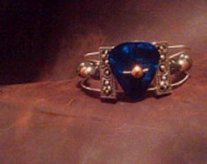 Guitar string bracelet with Royal blue pearl guitar pick Recycled guitar string jewelry