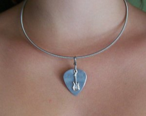 guitar string necklace from recycled guitar strings music lover