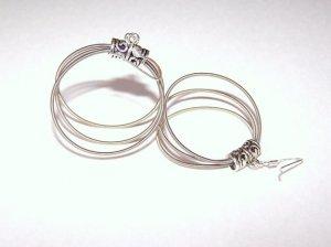 Handmade triple hoop guitar string earrings