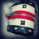 rock n roll leather zipper cuff bracelet