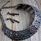 Hammered Style Collar Bib Necklace Earrings Set Gun Metal Gray Fashion Jewelry