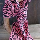 Pink & Black Filigree Print Soft 3-In-1 Long Scarf Versatile Wear Fashion Belt Hair Accessory