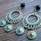 Aztec Chandelier Earrings Gold Tone Turquoise Pantina Black Stud Gypsy Boho Fashion Jewelry
