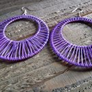 Large Purple Wire Hoop Earring Dangle Hook Retro Vintage Fashion Jewelry