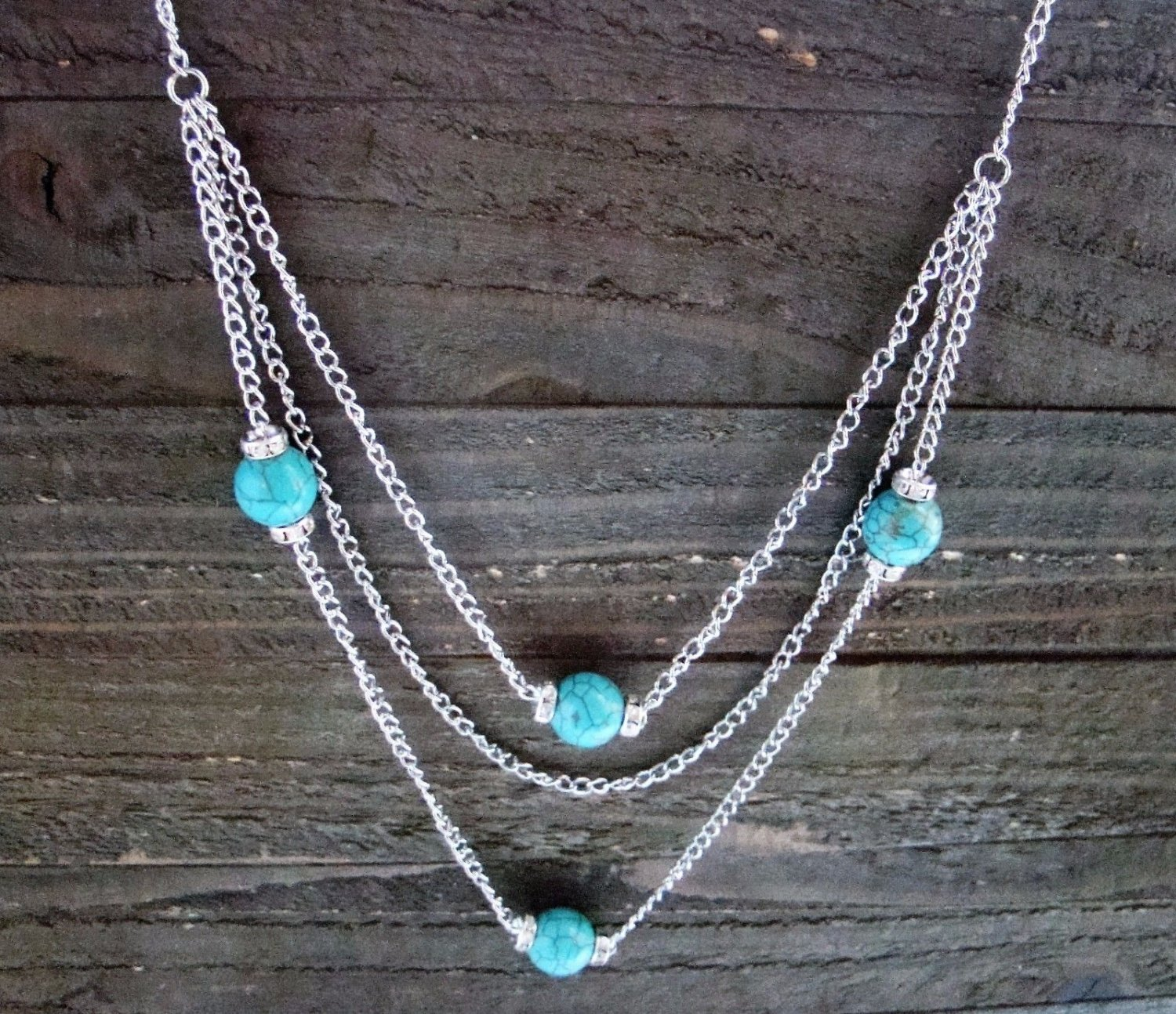 """Long 32"""" 3 Layer Multi Turquoise Bead Rhinestones Chain Necklace Cowgirl Fashion Jewelry"""