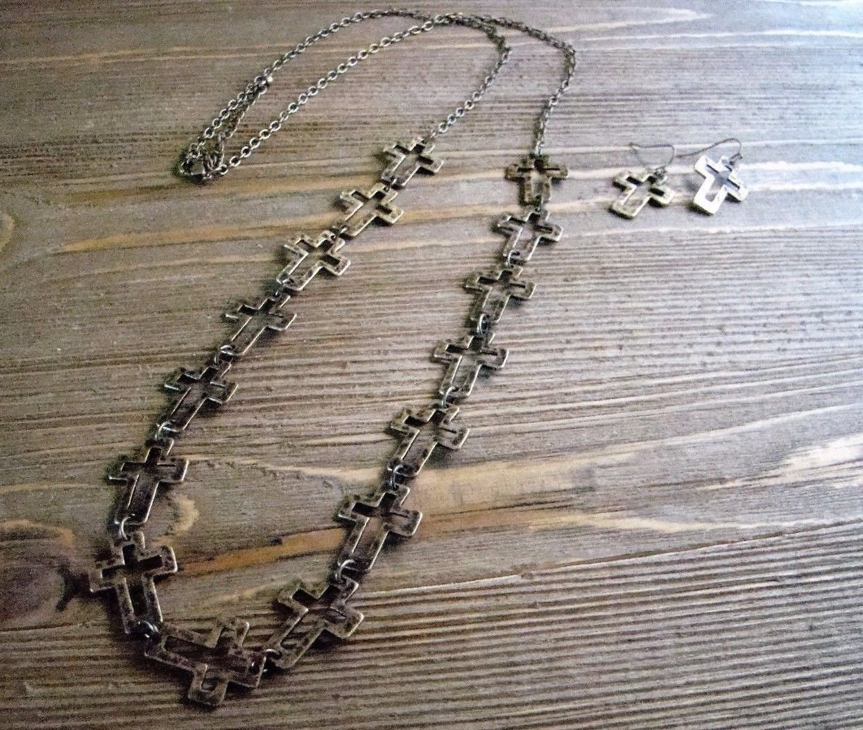 "Burnish Gold Multi Cross 35"" Long Necklace Earrings Set Boho Cowgirl Jewelry"