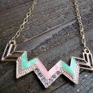 Pink & Green Chevron Zig Zag Rhinestones Adjustable Chain Statement Necklace Fashion Jewelry