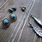 Silver Leaf Drop Earrings Turquoise Concho Studs Gypsy Boho Cowgirl Fashion Set