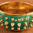 Gold Spike Turquoise Plastic Wide Bangle Bracelet Fun Fashion Jewelry Size 8