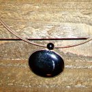 Vintage Black Acrylic Oval Pendant Triple Wire Simple Necklace Fashion Jewelry